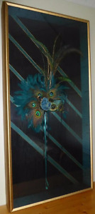 4' x 2' Framed Authentic Mardi Gras Mask