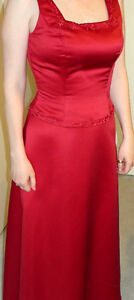 Red Formal Embroidered & Beaded Full Length Gown 6-8.