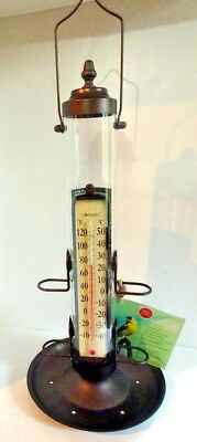 """Grande View BIRD FEEDER THERMOMETER & TRAY 21"""" Bronze Hold 1 1/2# Conant New $70"""