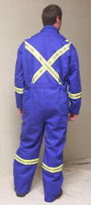BRAND NEW FR COVERALLS WITH HIGH VIS. STRIPES SIZE 52T