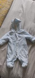 John Lewis baby blue pramsuit 0-3 months