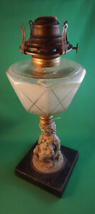 4U2C ANTIQUE ETCHED GLASS OIL LAMP WITH PEWTER FIGURE AND DOG