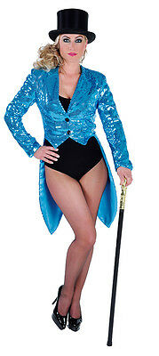 Deluxe TURQUOISE   Ladies Sequinned Tailcoats - Cabaret / Show - Tailcoats Kostüm