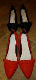 Two pairs of kitten heel shoes red and black UK size 7/2