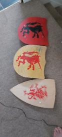 Wooden kids play Shields x 3