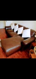 Brown Leather 3 Seater Corner Sofa