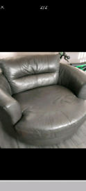 Large Leather Swivel Chair