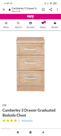 Camberley 3 draw bedside chest x2