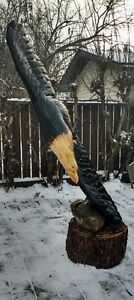 Locally Chainsaw Carved Bald Eagle Made From Salvaged Spruce
