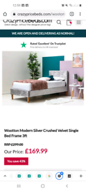 Single crushed velvet bed with mattress
