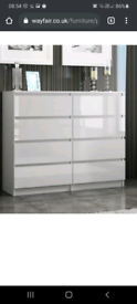 White gloss 8 drawer chest of drawers