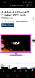 Pink Bush 24 inch TV dvd with wall bracket and stand
