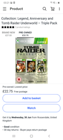tomb raider collection xbox 360 / 3 games in 1 / worth £29.99