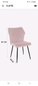 Set of 2 velvet pink chairs NEW