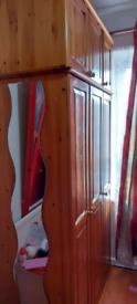 Solid Oak 3 door wardrobe with mirror