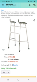 walking frame wheeled forearm/ brand new in box from amazon