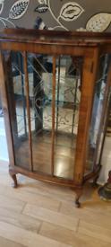 Mirrored Walnut Display Cabinet