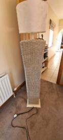 Tall wicker standard lamp
