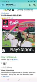 PS1 GAMES/ 2x barbie games Both £5 pounds each/ or swaps