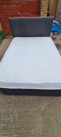 Charcoal double bed with mattress