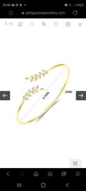 Brand New: Gold Leaf Bangle Created with Swarovski® Crystals