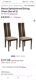 X2 alexia dining chairs New and assembled