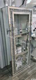 New in box mirrored crushed diamond display cabinet