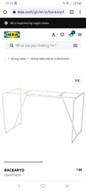 Brand new Ikea BACKARYD table support
