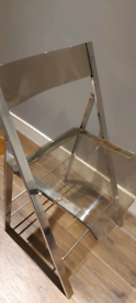 3 stainless Steel clear plastic chairs folding
