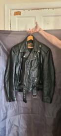 Vintage biker jacket with hand painted back