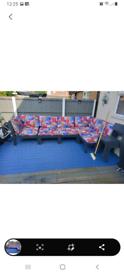 Garden sofa with cushions