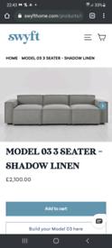 Brand New Swyft 3-seater sofa - shadow linen (grey)