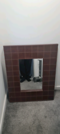 2x Upholstered large Leather Wall Mirrors