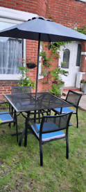 Large Aluminium Garden Table With 4 Chairs, Parasol And Parasol Base