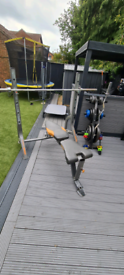Olympic weights, bench, weights bars, dumbells, weights tree