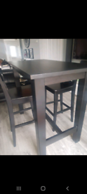 Ikea high table with 4 stools