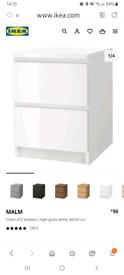 Ikea malm high gloss bedside table