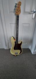 Sx Vintage white bass guitar