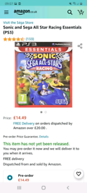 Sonic and All Star Racing Transformed on PS3 worth £14.49 on amazon