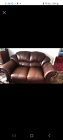 Real leather 2 seater sofa with footstool