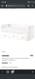 Ikea hemnes day bed with 2 mattresses included