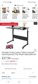 Portable laptop adjustable trolley