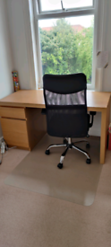 Office desk + chair + floor protector for sale