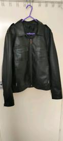 River Island Black Leather Jacket (Medium)