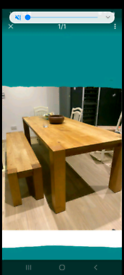 Ylifanti solid oak dining table and bench