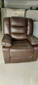 Brown Bonded leather Recliner Armchair New free local delivery
