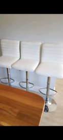 Bar Stools - White Faux Leather