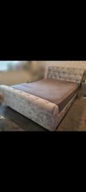 Hert Velvet Sleigh Bed