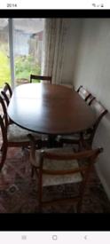 Dining table and 6 chairs and extender