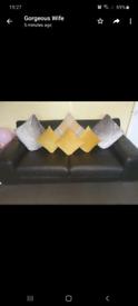 2 x 4 Seater Black Leather Sofas